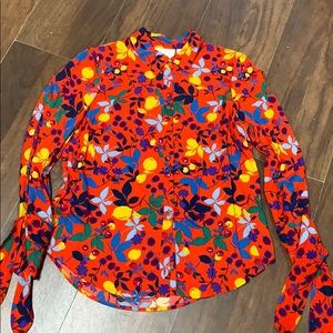 Anthropologie red floral top size 6